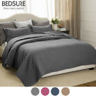 Bedsure Soft 3 Piece Basketweave Quilt Set Lightweight Coverlet Sham Set 4 Color image