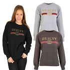 "New Women's Ladies Long sleeves Slogan ""GUILTY"" Sweatshirts Top UK 8-16"
