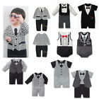 NEW Baby Boy Kids Tuxedo Birthday Wedding Party Romper one-pieces up to 3M - 18M