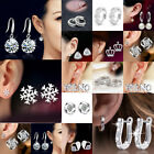 925 Sterling Silver Crystal Stud Round Earrings Wedding Jewelry Womens Gift Xmas