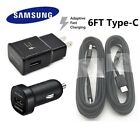 Lot OEM Fast Wall + Car Charger 6FT Type-C Cable Samsung Galaxy Note8 S8 S9 Plus