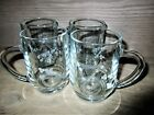 4 Irish Coffee Mugs Duiske Glass AINE Gray cut crystal: Shamrocks & Harp 4 1/8""