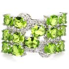 New Arrival Green Periot, White CZ Woman's Wedding Silver Ring US 7.0#