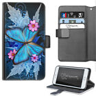 HAIRYWORM PINK FLOWERS WITH BLUE BUTTERFLY LEATHER WALLET PHONE CASE, FLIP CASE
