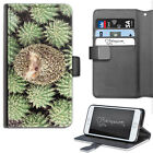 HAIRYWORM ANIMAL HEDGEHOG CAMOUFLAGE CACTUS LEATHER WALLET PHONE CASE, FLIP CASE