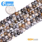 """Natural Brown Dendritic Moss Opal Stone Round Beads for Jewelry Making 15"""" G-B"""