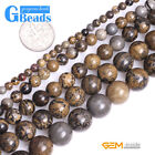 """Natural Brown Artistic Jasper Stone Round Beads for Jewelry Making 15"""" Free Ship"""