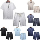 New Mens Fashion Suit Linen Cotton Crew Neck Casual Shirts&Short Pants 2PCs Set