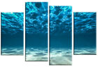 Ocean Beneath Canvas Sea bed view Wall Art Picture Teal Blue 4 panel or single