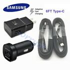 Lot OEM Fast Wall + Car Charger 6FT Type-C Cable Samsung Galaxy...