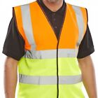 HI VIZ VIS VISIBILITY SECURITY WORK VEST TWO TONE SAFETY WAISTCOAT SMALL TO 4XL
