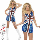 Adult Glitter Ginger Spice Costume Ladies Sparkly Union Jack Girls Fancy Dress