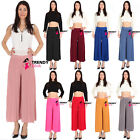 Women Pleated High Waist Wide Leg Palazzo Pants Fit Trouser Size 8 - 20  Full