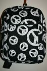 Quilted Polka Dots Peace Print Large School Backpack Gym Black White School Bag