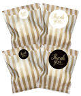 Black or white & gold thank you stickers, WITH gold striped paper bags, 2 sizes