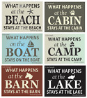 Joanie STENCIL What Happens Beach Boat Barn Cabin Camp Lake Stay Horse Fish Sign
