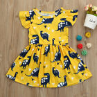 Toddler Kid Baby Girls Short Sleeve Dinosaur Print Party Dress Outfits Clothes