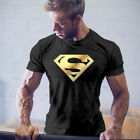 Men's Superman Gym Singlets t-shirt Bodybuilding Fitness Sports Tops Tee Clothes