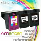 For HP60XL Black & HP60 XL Color Ink Cartridge Combo Pack CC641WN CC644WN 60XL