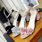 Summer Women Fashion Buckle Thick Middle Heel Bandage Candal Hollow Thick Shoes