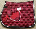 New Horse English Saddle Pad Set Matching Fly Bonnet Veil Ear Net Polyester