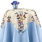 Colorful Fluttering Butterflies Embroidered Cutwork Table Linens