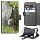 TORTOISE PHONE CASE, LEATHER WALLET FLIP CASE, COVER FOR SAMSUNG, APPLE, SONY