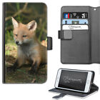 RED FOX CUB PHONE CASE, LEATHER WALLET FLIP CASE, COVER FOR SAMSUNG, APPLE, SONY