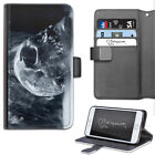 Smoking Skull Phone Case, PU Leather Wallet Flip Case, Cover For Samsung, Apple