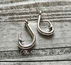 5 Large Fish Hook Pendants Charms Antiqued Silver Fishing Findings Fisherman
