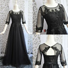 Black Half Sleeve Lace applique Weeding Dresses Prom Ball Party Gown Custom Size