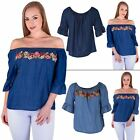 Ladies Denim Jeans Top Italian Lagenlook Women Floral Applique Lace Off Shoulder