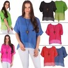 Womens Top Ladies Linen Chiffon Panel Hem Pendant Italian Lagenlook Loose Tunic