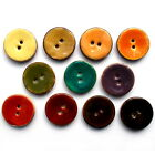 Coconut Shell Buttons Round 2 Hole Colour Enamel - Colour and Size Choice