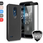 For LG K30 Shockproof Rubber Slim Phone Case Cover+Black Tempered Glass Screen