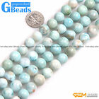 Natural Grade AAA Blue Larimar Gemstone Round Loose Beads for Jewelry Making 15""
