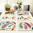 1-Feather Print Insulation Pad Kids Baby Dining Table Kitchen Placemat Place Mat