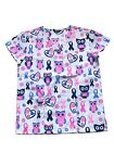 Zikit Womens Fashion Medical Nursing Scrub Tops Printed Plus Size XS-4XL