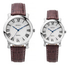 Genuine ORIENT Quartz Dress Mineral glass Men Women Brown band watch