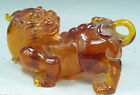 Old Decorated Handwork Myanmar Amber Carving Lifelike Dragon Monster Statue