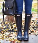 Hunter New Classic Original Tall Navy Gloss Wellington Welly Outdoor Rain Boots
