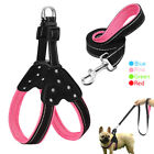 Leather Small Puppy Pet Dog Rhinestone Lightweight Harness and Leash Set No Pull
