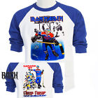 "IRON MAIDEN,Canada ""Who Gives a Puck"" Baseball T-Shirt,,T-697Blue,L@@K!"