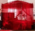 Scold Princess 4 Post Arched Bed Curtain Red Home Canopy Mosquito Net With Frame