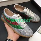 Mens Sequins Shiny Genuine Leather Shoes Lace Up Casual Sneakers Athletic Sports