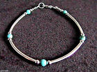 """Turquoise & Sterling Silver Tube Style Bracelet 925 SS 6.5"""", 7"""", 7.5"""" or 8"""""""
