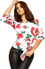 Womens Front Tie Wrapover Top Ladies Ruched Short Sleeve Floral Rose Print New