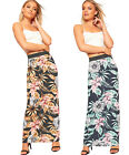 Womens Elasticated Stretch Floral Print Maxi Skirt Ladies Long Full Length 8-22