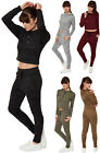 Womens Stretch Hoodie Crop Top Jogging Bottoms Tracksuit Ladies Lounge Wear Set
