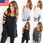 US Fashion Womens Strappy Cold Shoulder Tops Blouse Ladies Long Sleeve T-Shirts